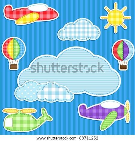 Blue background with cute plane, helicopter, aeroplane, balloon, clouds and sun and place for text