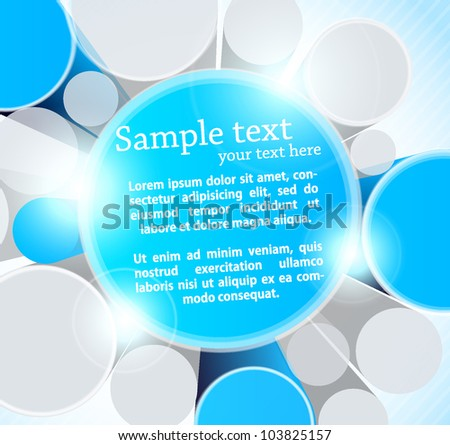 Blue background with 3d circles and lights