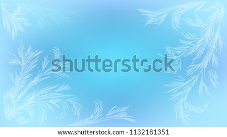 Blue background with frosty patterns, iced window