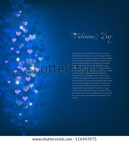 Blue Background with hearts. Vector illustration