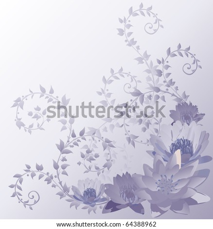 blue background with lily and lotus flowers illustration