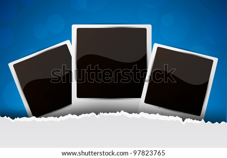 Blue background with photo frames and circle