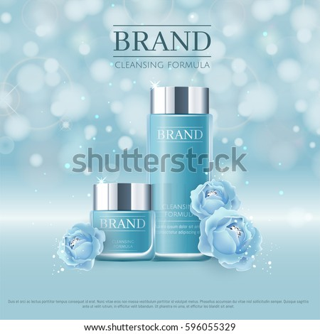 Blue background with realistic 3D vector moisturizing cosmetic cleansing premium products. Aqua Premium VIP cosmetic ads, hydrating Blue Packaging Cream and Body Lotion with blue roses and diamonds