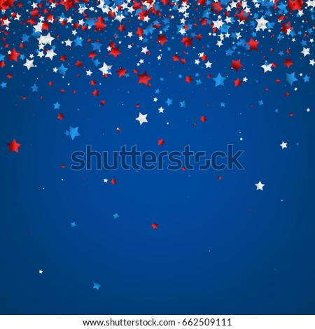 Blue background with red, white, blue stars. Vector  illustration.