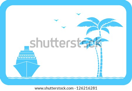 blue background with ship, palm and seagull and sample text