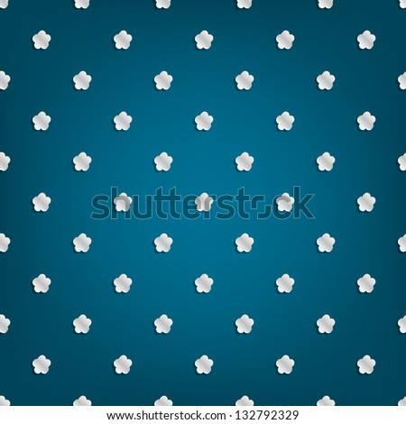 Blue background with white flowers small volume