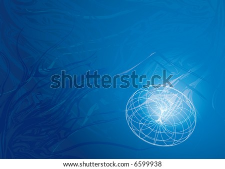 blue background with wire-frame, a technical concept background with some underwater taste.