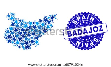 Blue Badajoz Province map collage of stars, and distress rounded stamp. Abstract territorial plan in blue color hues. Vector Badajoz Province map is constructed of blue stars.