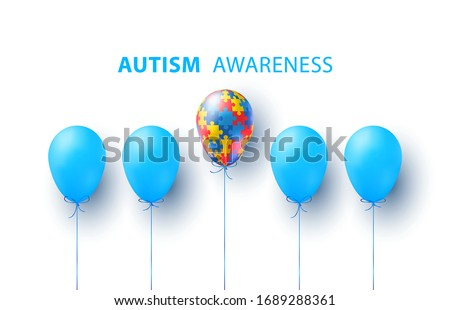Blue balloons and puzzle balloon. World Autism awareness day. Colorful puzzles vector blue background with balloons. Symbol of autism. Medical illustration. Health care. Balloons with puzzles