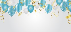 blue balloons, vector illustration. Celebration background template