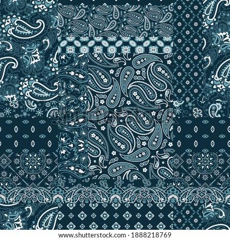 Blue bandana paisley fabric patchwork abstract vector seamless pattern