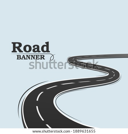 Blue banner, long road. Winding road on a blue background. Road banner. A simple image of a road on a blank background.