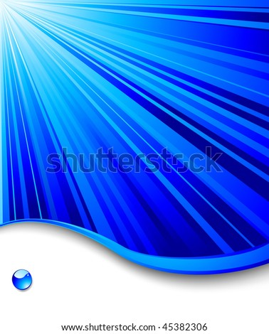 stock vector : Blue banner template - ray background; clip-art