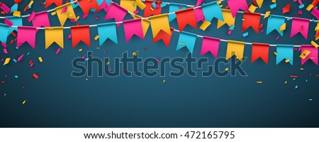 Blue banner with garland of colour flags and confetti. Vector illustration.