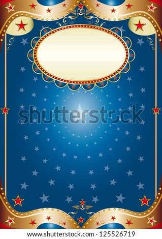 Blue baroque frame. A blue poster for your party.