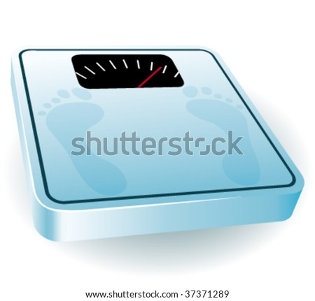 Blue bathroom scale. Vector illustration.