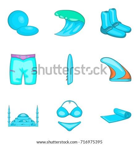 blue beach things icons set