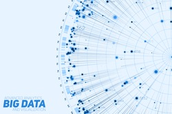 Blue Big data circular visualization. Futuristic infographic. Information aesthetic design. Visual data complexity. Complex data threads graphic. Social network representation. Abstract graph.