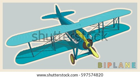 blue biplane in vintage and