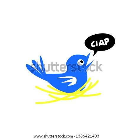 blue bird, funny cartoon illustration for t-shirt
