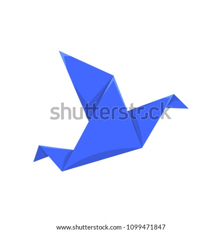 blue bird made of paper in