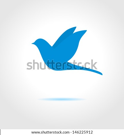 blue bird on gray background