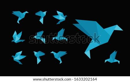 blue bird paper craft flying in
