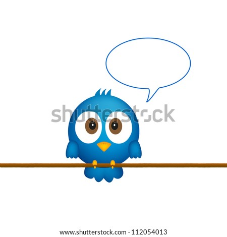 Blue bird sitting on rope witch speech bubble