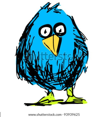 Blue bird sketch vector illustration in funny doodle style
