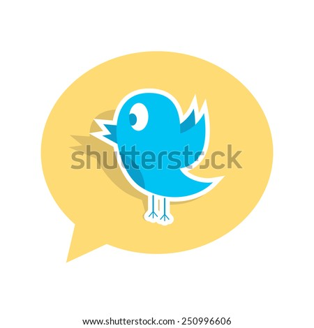 blue bird sticker on yellow speech bubble. concept of social media, microblogging and ornithology. isolated on white background. flat style trendy modern logo design vector illustration