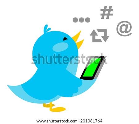 Blue bird talking on phone