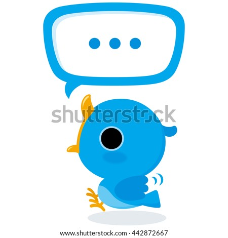 Blue bird tweet Illustration of tweet blue bird on white background.