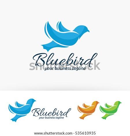 blue bird  vector logo template