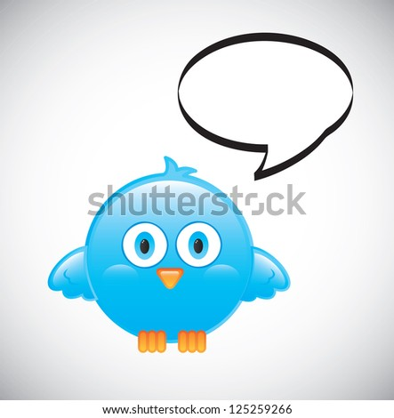 blue bird with bubble over white background vector illustration