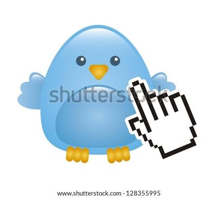 blue bird with cursor hand isolated. vector illustration