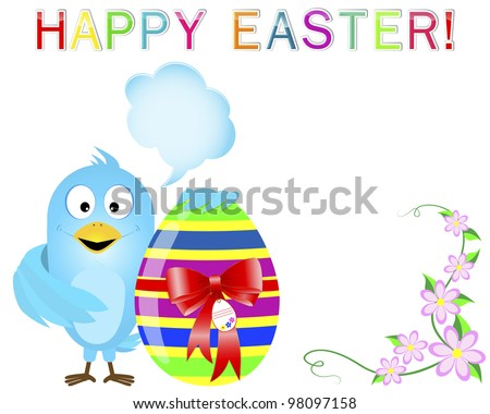 Blue Bird with speech bubble keeps a cute easter egg with a red bow and a tag. Vector eps10. - stock vector