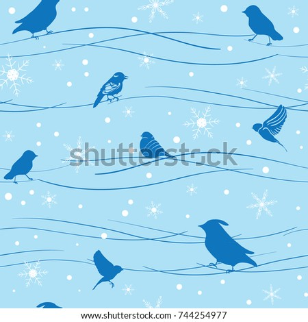 blue birds and snowflakes