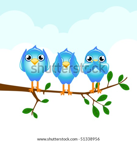 blue birds hear, see and speak no evil