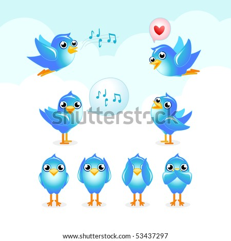 blue birds set Stock photo ©