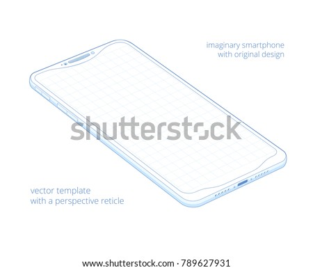 Blue biro outline of the visionary smartphone on a white background. Draft 3d blueprint of some gadget in perspective view. Original vector concept of the modern device with a grid on a blank screen.