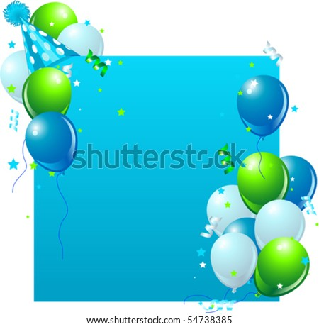 Blue birthday card with balloons, hat and plenty of copy space. - stock vector