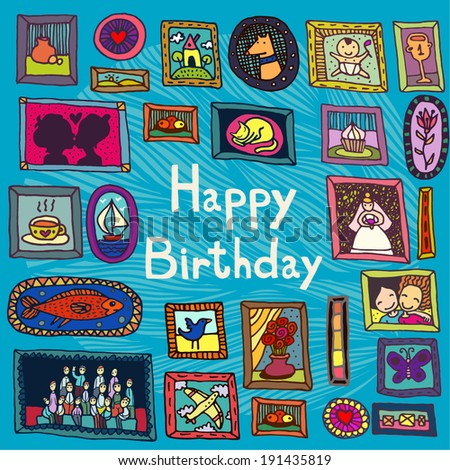 blue birthday card with framed