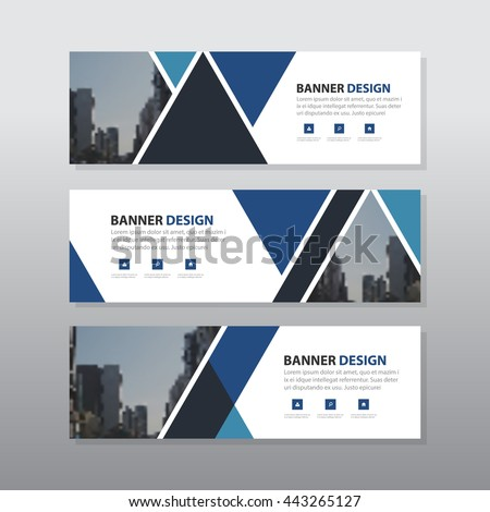 Blue black triangle abstract corporate business banner template, horizontal advertising business banner layout template flat design set , clean abstract cover header background for website design,  #443265127