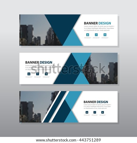 Blue black triangle abstract corporate business banner template, horizontal advertising business banner layout template flat design set , clean abstract cover header background for website design #443751289
