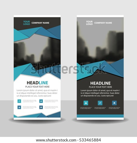 Blue black triangle Business Roll Up Banner flat design template ,Abstract Geometric banner Vector illustration set, presentation brochure flyer template vertical vector #533465884