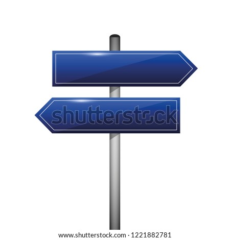 blue blank direction signpost sign arrow left and right vector illustration EPS10
