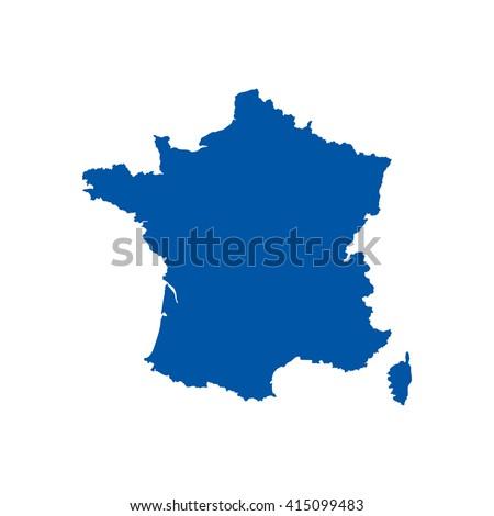 Blue blank France map. Flat vector illustration. EPS10.