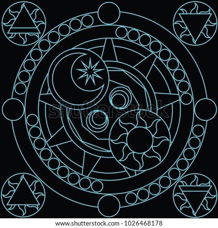 blue blank magic circle for