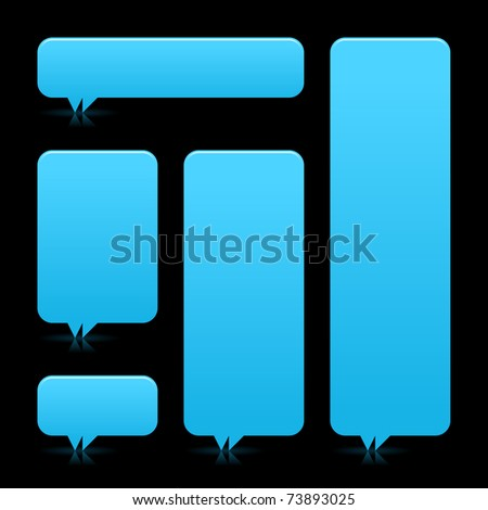 Blue blank speech bubble dialog with color reflection on black background