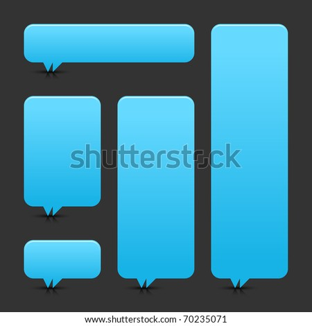 Blue blank speech bubble dialog with shadow and reflection on gray background